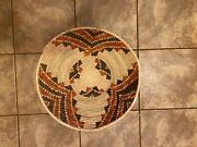 Hand Woven Southwestern Shallow Bowl Baskets, Approx. 19in Wide, 7in Deep