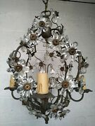 Vintage Mcm Maison Bagues Crystal Flowers Chandelier Chic French Classic Design