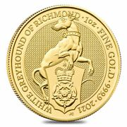 2021 Great Britain 1 Oz Gold Queenand039s Beasts White Greyhound Of Richmond Coin