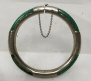 Antique Chinese Carved Jadeite Jade Silver Mounted Bangle Bracelet Jewelry