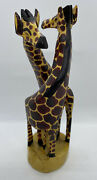 Hand Carved Wooden Giraffe Figurines Statues African Home Decor Sculpture 9andrdquo