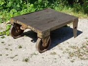 Victorian Antique 1890's Industrial Railroad Iron / Steel Cart W/ Wood Planks Wi