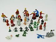 33 Vintage Small Toy Figures Metal And Plastic Gas Station Workers Captain Hook