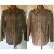 Levies Vtg Big E Mens Tag 44 46 Brown Reversible Leather Jacket Snap Metal 50s