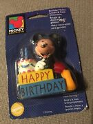 Vintage New Wilton Mickey Mouse Happy Birthday Candle Cake Decoration 1996