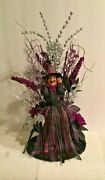 Handcrafted Witch In Purple And Silver Ribbon Dress On Tinsel Base