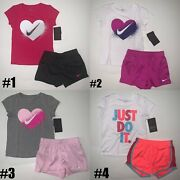 New Nike Little Girls 2 Piece Shirt And Shorts Set Choose Size And Color Msrp 36
