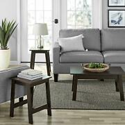 3-piece Espresso Finish Coffee Table And End Table Set Living Room Furniture