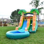 Inflatable Bounce House With Water Slide Pool And Air Blower 10and039 X 21and039 Tropical