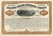 Atlantic And Pacific Railroad Western Division - 1,000 Uncancelled Gold Bond