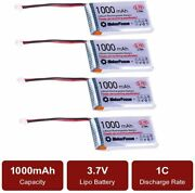 4pc 1000mah 3.7v Rechargable Lithium Lipo Battery Packs With Micro Jst 1.25 Plug