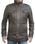 Mens Fashions Olive Leather Jacket High Wrap Collar Design Two Interior Pockets