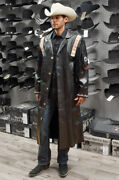 Mens Western Jackets Black Leather Traditional Native American Style Long Coats