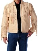 Mens Western Jackets Suede Leather Fringe Style Native American Traditional Coat