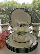 Lenox 3 Piece Place Setting - Serving For 6 - Midnight Blossoms Dark Pink Flower