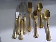 Vintage Stainless Steel Royal Gallery Flatware Set Made In Japan Gold Plated