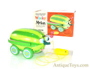 Vintage Ca. 1960andrsquos Cragstan Wacky Melon Pull Toy In Box