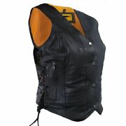 Womens Biker Classic Genuine Cowhide Leather Motorcycle Vest Side Lace
