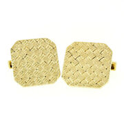 Vintage And Co. 18k Yellow Gold Squared Woven Basket Pattern Cuff Links