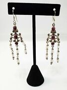 Pink Tourmaline And Rose Quartz 3 Inch Sterling Silver Chandelier Earrings 925