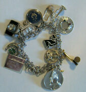 Vintage Sterling Silver Charm Bracelet With 13 Adorable Charms ,tinkerbell