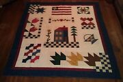 Joannand039s Year At Home Americana Patriotic 77x89 Full Size Quilt Country Handmade