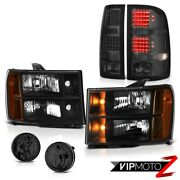 08-14 Gmc Sierra 3500 Slt Headlights Smoked Foglamps Taillamps Factory Style Smd