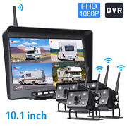 Hd Digital Wireless Quad Backup Camera 1080p 10.1and039and039 Dvr Monitor For Truck Rv Bus