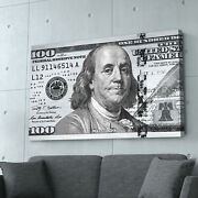 100 Dollar Bill Canvas Print | Steel Money | Motivational Quote | Extra Large