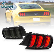 Vland 2 Tail Lights For Ford Mustang 2015-2020 Rear Lamps 5 Models Smoked Lens