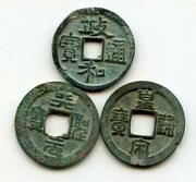 Lot Of 3 Unsorted 1-cash Coins Northern Song Dynasty 960-1127 Ad China