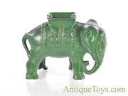 Antique Ca. 1912-1934 A.c. Williams Cast Iron Elephant Toy Bank Green