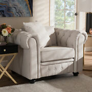 Alaise Modern Classic Scroll Arm Button-tufted Linen Lounge Chesterfield Chair