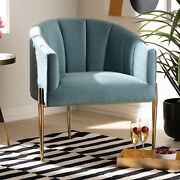 Clarisse Glam And Luxe Art Deco Velvet Fabric Gold-finish Metal Round Accent Chair