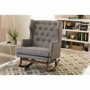 Iona Mid-century Modern Fabric Upholstered Button-tufted Wingback Rocking Chair