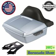 Advanblack Barracuda Silver King Tour Pack Wrap Around Backrest For 97+ Harley
