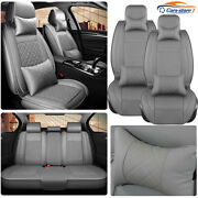 Gray Car Seat Covers Front Rear Pu Leather 5-sit Cushion Protector Suv Interior