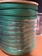 """1 1/8"""" X 150 Ft Double Braidyacht Braid Polyester Rope. Green. Usa Made."""