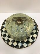 Camp Mackenzie Childs Courtly Check Plate With Marble Swirl Cake Cover