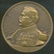 France Big Bronze Medal By Henry Nocq - J. Joffre Marechal Wwi 1914 - Ex Cond.