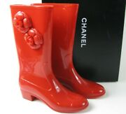 Glossy Red Rubber Camellia Flower Cc Cap Toe Heel Tall Rain Boots 41