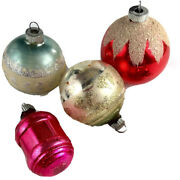 Lot Of 4 Vintage Shiny Brite Glass Christmas Ornament Rounds Balls Mica