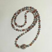 Prayer Mala 108 Beads Faceted 12mm Agate With Tibetan Bead Mantra