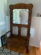 Anttique Oak Hall Tree With Storage Bench. Beautiful Hall Tree With Nice Storag