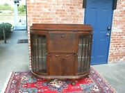 English Antique Mahogany Ball And Claw Side By Side Drop Front Desk / Cabinet