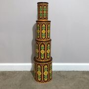 Vintage Retro Nesting Kitchen Canisters Metal Tin Cans Wood Lids Set Of 4 Floral