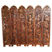 Large 6 Panel Wooden Hand Carved Diveder Home Screen Privacy Peparator Partition