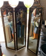 Antique Chinese Room Divider Solid Wood Very Heavy Mirror