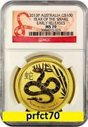 2013 Australia Chinese Lunar Year Of The Snake Ngc Ms 70 Er 1 Oz 9999 Gold Rare