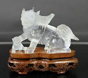 Chinese Rock Crystal Glass Fu Dog Statuette Table Sculpture On Wood Base